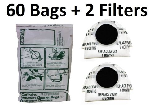 60 Bags + 2 Filters For Tristar Tri Star Compact Vacuum C...