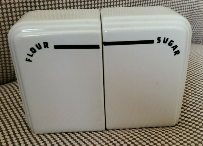 Vintage Range Top Shakers Westinghouse? Art Deco Sugar & Flour Black & White