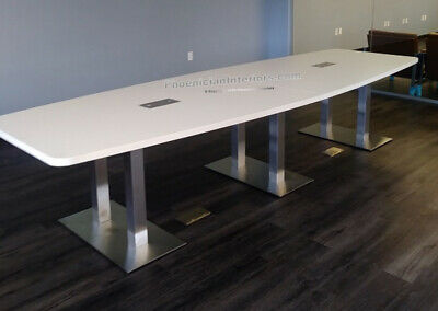 12 Ft Foot Modern Conference Table With Metal Legs White Gray Espresso 8 Colors