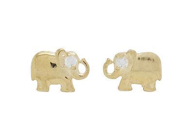 10K Solid Yellow Gold CZ Elephant Earrings [2 -