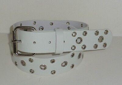 Grommet Stud Belt (MEN WOMEN SILVER GROMMET STUD STUDDED WHITE SNAP ON BELT L 38)