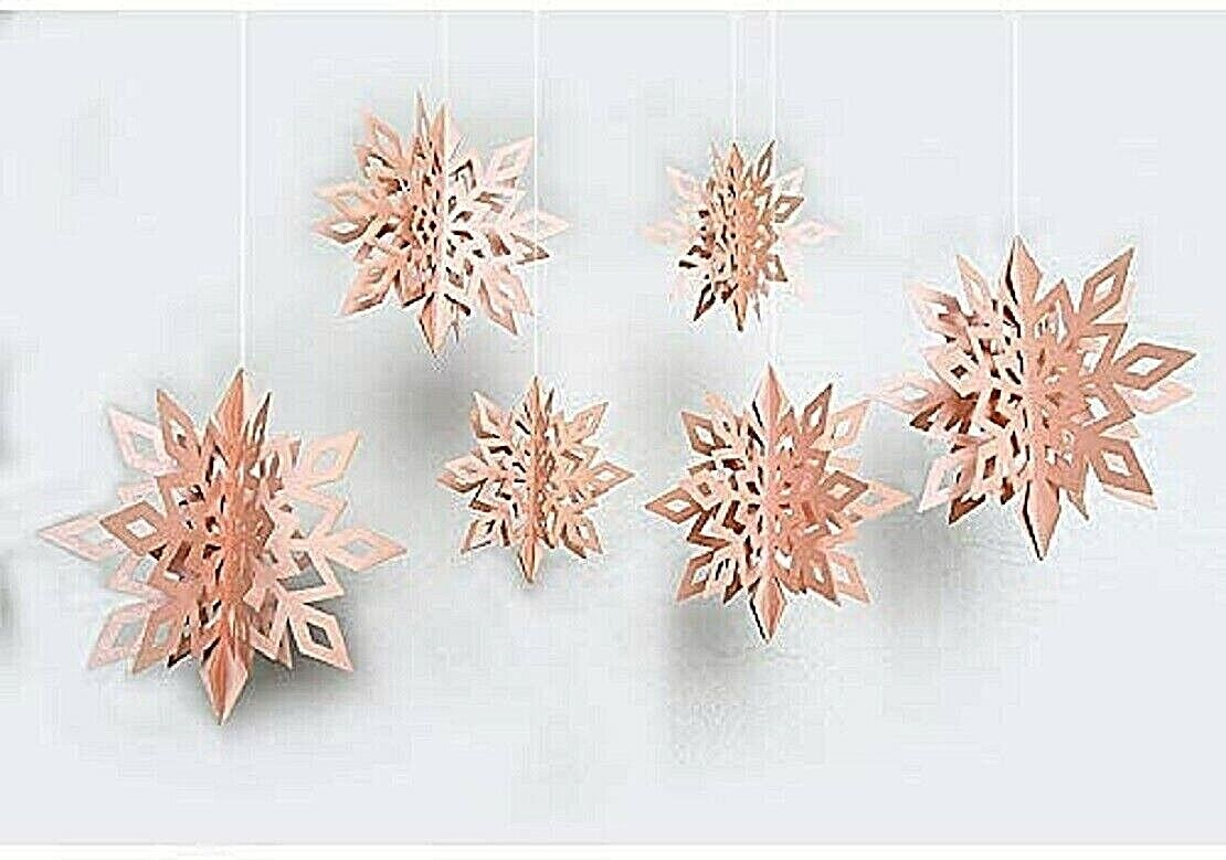 Snowflake Hanging Garland Snowflakes Decorations Pink set of 6 sizes Party NIB Greeting Cards & Party Supply