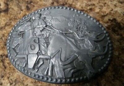 - Vintage SHEPLERS Western Belt Buckle Longhorn Award Design Zee Series Cattle