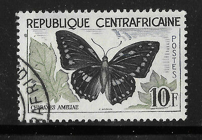Butterfly Stamp 1960 10 F - animal theme - Central African Rebublic -  see scan