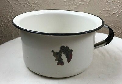 "Vintage White Enamelware Child's Chamber Pot Pail Black Trim Handle 4""Tx7.5"""