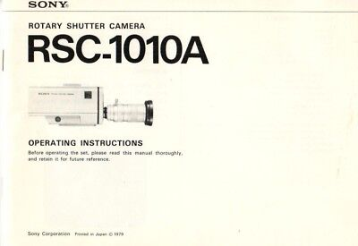 SONY - RSC-1010A - Operating Instructions for Camera - B8038
