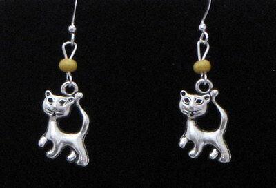 Cat / Kitten Dangling Earrings (C6) - You pick the Bead color..