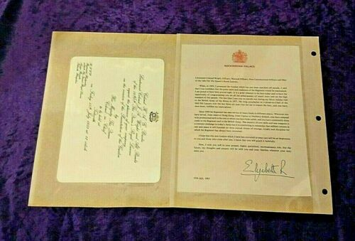 Royal Queen Elizabeth II invitation + signed letter + info - Royal Lancers