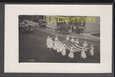 Rppc Red Cross Parade Girls Carry Big Flag Circa 1918 WW1 WWI Old Cars Much More