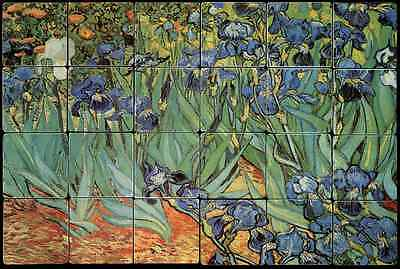 24x20 Ires Strauss Backsplash Mural Tumbled Marble Tiles Kitchen Ideas Van Gogh
