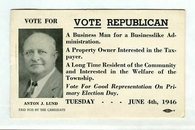 Vintage 1946 VOTE REPUBLICAN Primary Ink Blotter! Anton J. LUND (Woodbridge NJ)