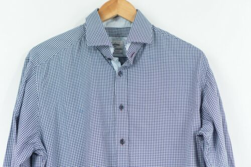 Stenstroms Slim fit shirt SlimLine TWO FOLD Super cotton Blue Check men 16.5 42