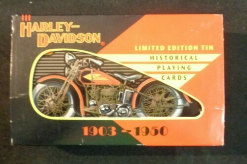 1997 HARLEY DAVIDSON PLAYING CARD IN TIN Limited Edition 1903-1950 Motorcycles