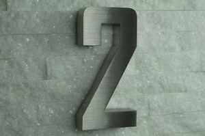 hausnummer edelstahl nr 2 h20cm new design in 3d v2a alle zahlen ebay. Black Bedroom Furniture Sets. Home Design Ideas
