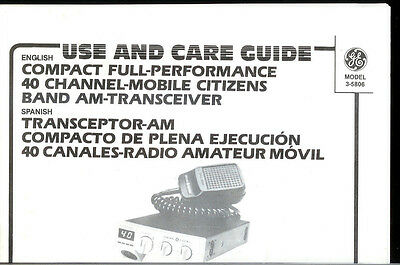 Fact GE General Electric 3-5806 40 Channel CB Radio Transceiver Owner's Manual