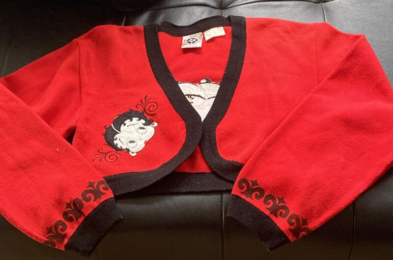 Betty Boop Red & Black Knit Sweater Bolero-Medium-VERY RARE ONE! ❤️🖤❤️🖤❤️🖤❤️