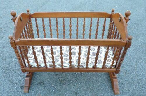 Vintage Solid Wood Bassinet Swing Cradle