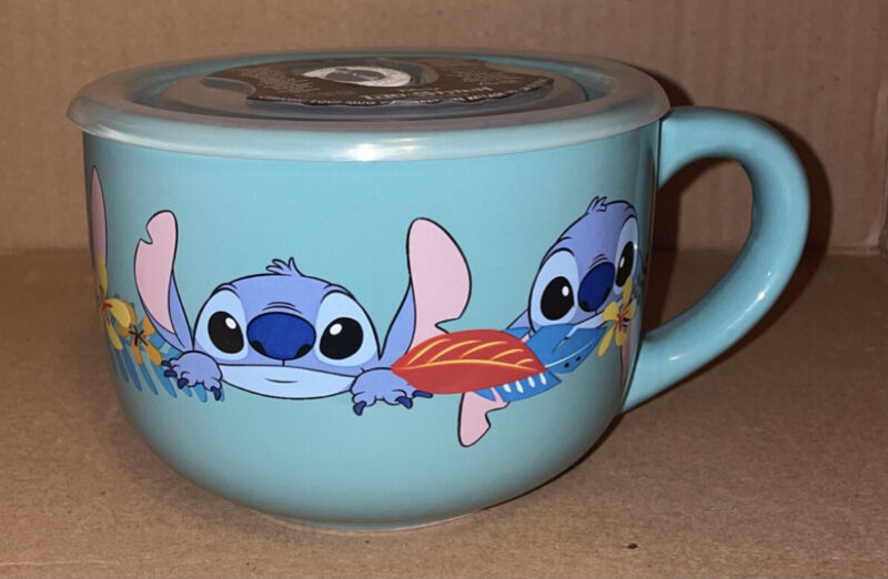 Disney Lilo & Stitch Aloha Ceramic Soup Mug With Vented Lid | Holds 24 Ounces