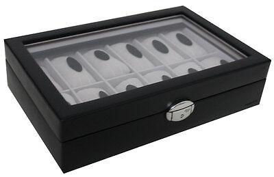 Davidt´s Uhrenbox Uhrenvitrine Uhrenkoffer mit Glas für 12 Uhren Schwarz