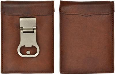 3D Belt Company Men's 3D Brown full-grain leather money clip
