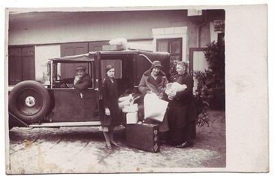 Altes Foto unbekannter Oldtimer Auto Landaulet Limousine 30er Jahre Reise Urlaub