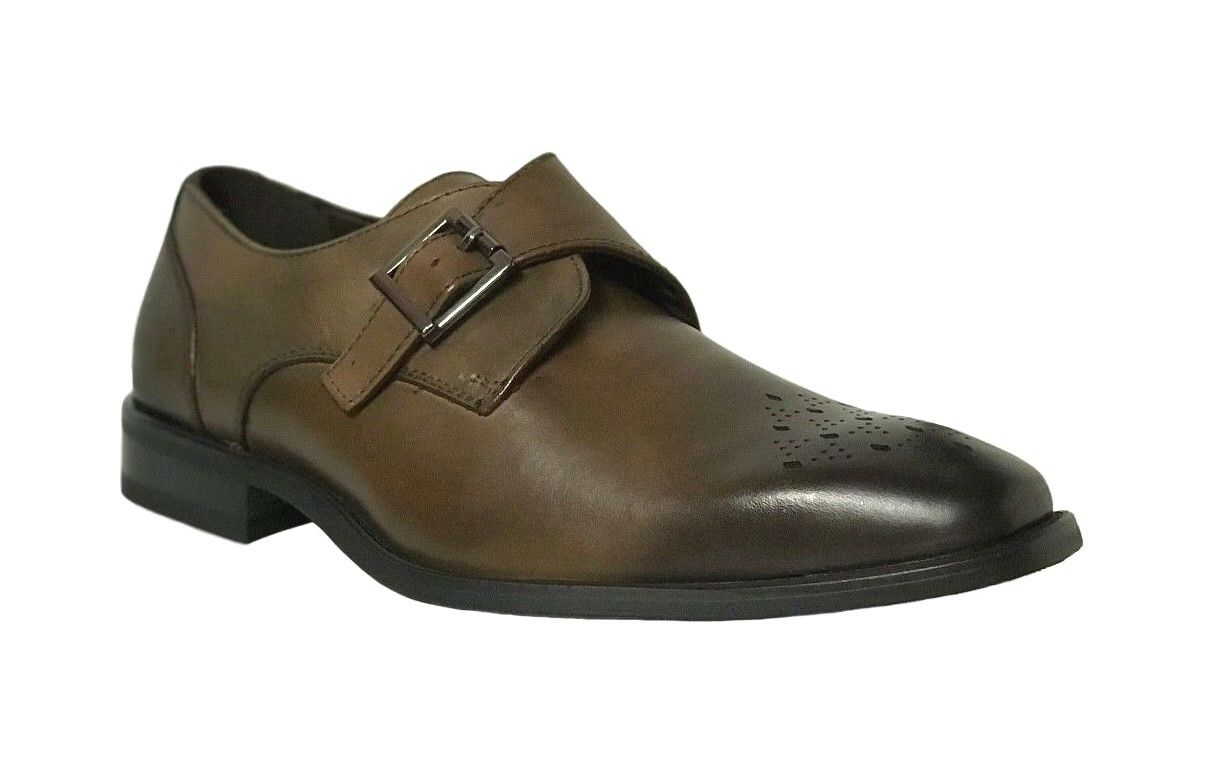 La Milano Men's Leather  Monk Strap Dress Shoes Brown A11231
