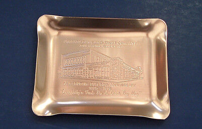 Vintage Peoples bank and trust promotional metal trinket tip tray Jennerstown PA