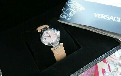 Versace WATCH XLQ99D009 Reve Pink Mother Pearl Face & Shagreen Strap GENUINE