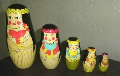 Hawaiian Hawaii Nesting Dolls Wooden