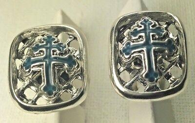 Cross of Loraine  enameled cufflinks Artisan made sterling silver