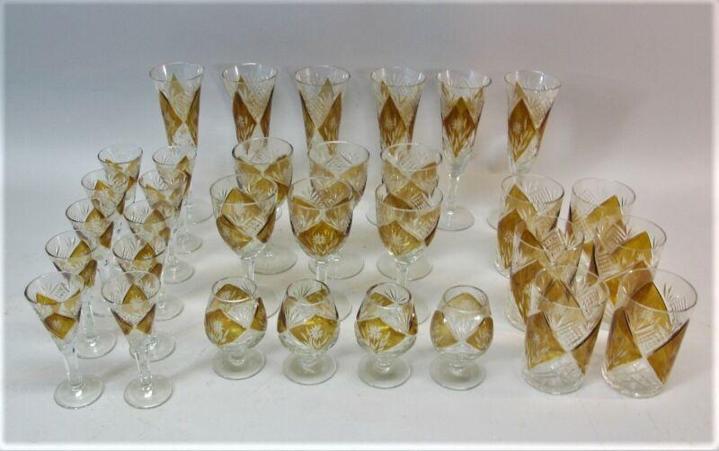 FINE BOHEMIAN CUT CRYSTAL GLASS STEMWARE SET  c. 1930  antique art glass