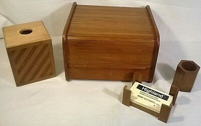 Vintage Wood Roll Top Desk Organizer And Accessories Set Lot