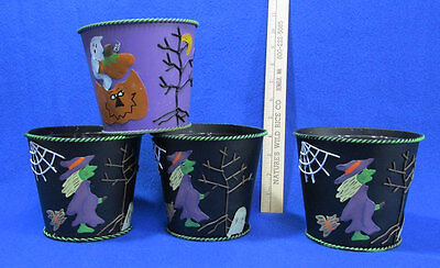 Halloween Pails Tin Bucket Lined Planters 1 Ghost 3 Witch Cob Web  Lot of 4 (Halloween Pails Wholesale)