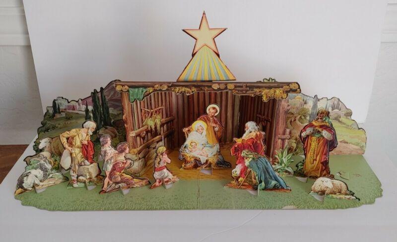 Vintage 1950's Christmas Manger Set Cardboard Cut-Out Nativity