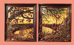 Two handcrafted framed leather paintings of river scene Broadbeach Waters Gold Coast City Preview