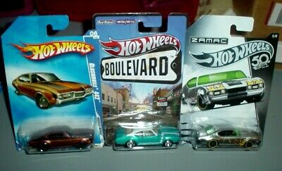 Hot Wheels 3 Lot 1968 Olds 442 Zamac Boulevard 1/64th Real Riders