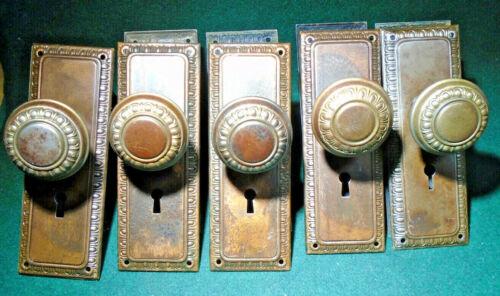ONE SET JAPANNED EGG & DART KNOBS & BACKPLATES - CIRCA 1910  (9865)