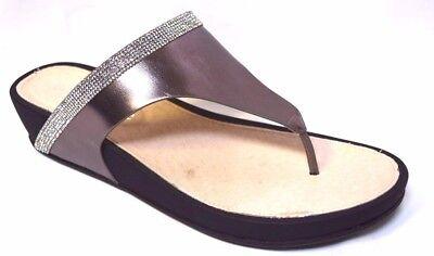 TS shoes TAKING SHAPE sz 11 / 42 Gunmetal Capri Slide crystal wedge thongs NIB!