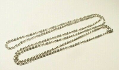 """VINTAGE 2mm BEADED CHAIN 24"""" NECKLACE ITALY STERLING SILVER 925"""
