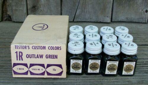 Old Vintage Testors Ed Roth OUTLAW GREEN Custom Paint Original Box 12 Bottles