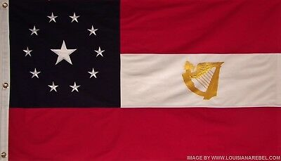 11 STAR 1st NATIONAL IRISH FLAG - 3' X 5' HEAVY COTTON CIVIL WAR  CSA IRISH HARP