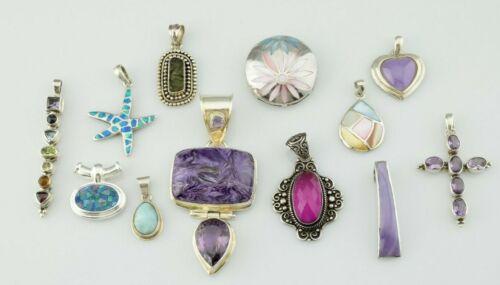 Lot of 12 - Sterling Silver Pendants Multi Gemstone Various Sizes - Heavy