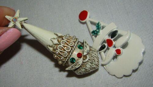 Vintage White Enamel Rhinestones Santa Claus Christmas Pin Brooch Lot of 2