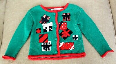 Hartstrings BABY CHRISTMAS SWEATER sz 6-9 Month Girls Holiday Green Red Applique