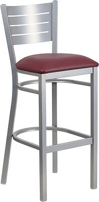 Silver Slat Back Metal Restaurant Barstool With Burgundy Vinyl Seat