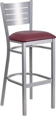 Silver Slat Back Metal Restaurant Barstool - Burgundy Vinyl Seat