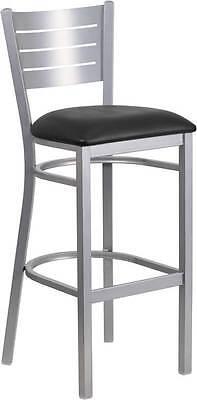 Silver Slat Back Metal Restaurant Barstool - Black Vinyl Seat