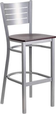 Silver Slat Back Metal Restaurant Barstool - Mahogany Wood Seat