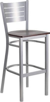 Silver Slat Back Metal Restaurant Barstool - Walnut Wood Seat