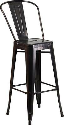 Black Antique 30 Seat Height Restaurant Metal Bar Height Stool